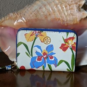 NWT Tory Burch Floral Mini Coin Purse Wallet